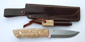 EnZo Trapper 95 O1 Knife/Firesteel/Curly Birch